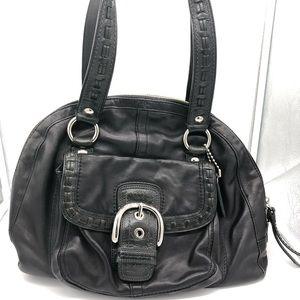 Coach Black Leather Dome Satchel Bag